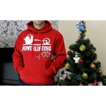 Толстовка со штангой Powerlifting красная